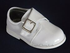 New Baby Infant Toddler Boys White Dress Shoes Baptism Christening Shiny Buckle