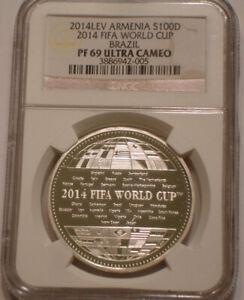 2014 Silver 100 Dram of Armenia NGC PF 69 ULTRA CAMEO FIFA World Cup Brazil