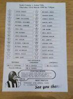 Notts County Res v Aston Villa Res Programme 23/03/95