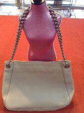Furla Silver Ball Chain Handle Tan Beige Leather Purse Handbag Beautiful Bag!