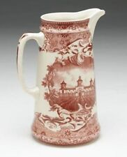 RED AND WHITE TRANSFERWARE CASTLE DESIGN TOILE PITCHER FOOTED