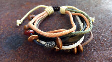 Brown Leather Bead Cotton / Mens Womens Kids Beach Bracelet Anklet Wristband