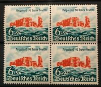 Germany 3d Reich 1940 Block of 4 Mi 750 Helgoland 50th Anniversary MNH