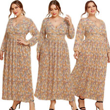 Bohemia Casual Women V-Neck Long Dress Loose Floral Print Holiday Beach Sundress