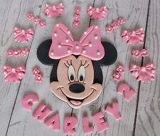 Minnie Mouse cake topper. Personalised Minnie Mouse. Edible Minnie Mouse flowers