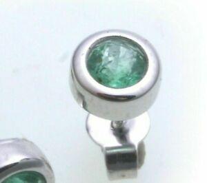 Men's Single Earrings Stud Emerald Real Gold 333 Studs 8 Carat White Gold