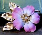 14k Gold A.J. Hedges And Co. brooch art noveau Pearl Signed Enamel Flower Jewel