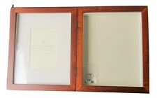 "New in Box POTTERY BARN Hinged  SHADOW BOX & Frame 9 x 11"" Mahogany wood"