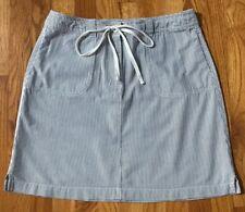 Talbots Blue & White Pinstripes Striped Flat Front Button Zip Mini Skirt 10