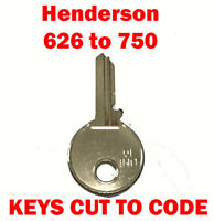 2 x Henderson 626 to 750 Garage Door Replacement Keys Cut to Code