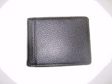 Trafalgar Mens Bi-Fold Black textured Leather Money Clip wallet NIB Ships Free