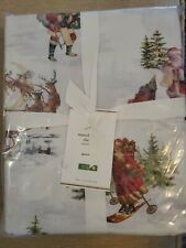 POTTERY BARN Nostalgic Santa 100% Organic Cotton Sheet Set Queen Christmas NWT