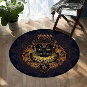 Black Crown Cat Animal Floral Gold Round Rug Carpet Mat Living Room Bedroom