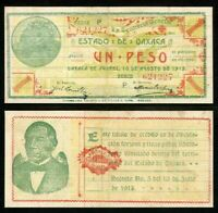 1915 State of Oaxaca Mexico Series P One Peso Banknote P# S953a Choice VF++