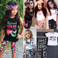 2/3Pcs Set Toddler Kids Baby Girls Clothes Outfit T-shirt Tops Pants Headband