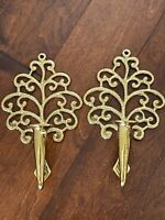 Vintage Pair Virginia Metalcrafters Solid Brass Candle Sconces Family Tree 16-7