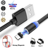 Magnetic Micro USB Cable For Xiaomi Redmi Note 3 4 5 6 Pro Fast Charge With LED
