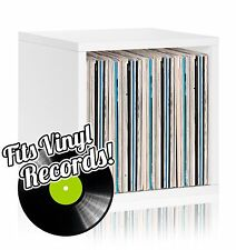 Vinyl Record Album LP Album Storage Cube Stackable Bookcase, White