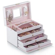 White Jewelry Box Organizer Bracelet Rings Watch Display Cabinet Storage Case 91