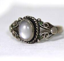 VINTAGE IN STERLING SILVER Moonstone Ring Taglia 6-L 1/2