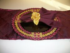 19Pc Burgundy And Gold Table Accessories