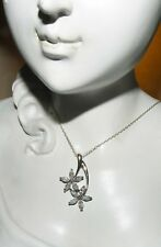 """925 Sterling Silver Sparkling Crystal Flower Pendant Double FLower Necklace 16"""""""