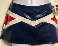 GK CHEER SKIRT ADULT MEDIUM LOW RISE ROYAL RED WHITE FOIL TRIANGLE V STRIPE AM