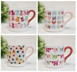 Set of 4 Pastel Coloured Mugs Different Designs Dogs Cats Butterflies Flowers
