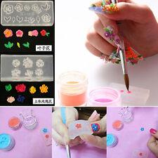 6pc Clear Silicone Mould 3D DIY Nail Art Flower UV GEL Acrylic Powder Mold Decor