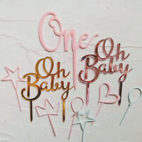 """Gold Rose Acrylic """"One"""" """"Oh Baby"""" Cake Topper Party Decor Dessert Lovely Gifts"""