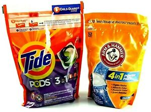 Tide Pods 3 and 1 spring meadow 35 count, Arm and Hammer 4 and 1 clean burst 32