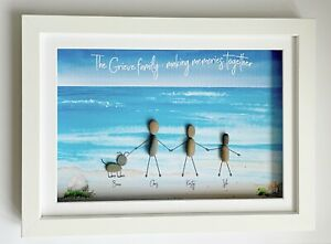 Personalised Pebble Wall Art Framed Picture Beach Gift Christmas Home Family
