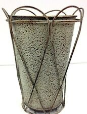 """French Wire Gray Wash Metal Vase. Great for Silk Flowers, Greenery, etc..8 1/2""""H"""
