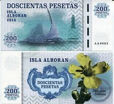 Alboran Island 200 pesetas 2014 UNC Ship Flower Spain Private Issue