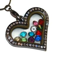 Heart Gem Black Birthstone Locket Necklace - Floating Glass Charm Jewelry USA
