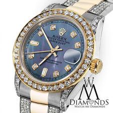 Ladies 26mm Rolex 2 Tone Datejust Custom Blue Diamond Dial on Oyster Bracelet