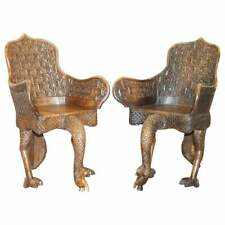 PAIR OF ORNATE BURMESE ANGLO INDIAN HAND CARVED CIRCA 1880 PEACOCK ARMCHAIRS
