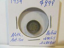 """1954 Netherlands QUEEN Juliana """"SILVER"""" 1/10 Gulden Coin of ANTILLES"""