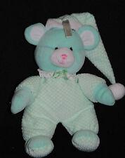 Peluche Doudou Souris Vert GIPSY Verte Blanc Long Bonnet Mouse Maus 24 Cm TTBE