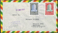 2184 BOLIVIA TO CHILE REGISTERED AIR MAIL COVER 1957 LA PAZ - SANTIAGO
