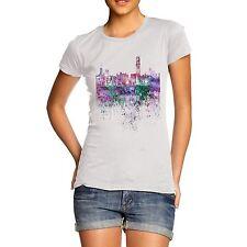 Twisted Envy Hong Kong Skyline Ink Splats Women's Funny T-Shirt