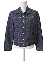 Birch Hill Denim Jacket LS Button Front Floral Print Metallic Pockets Size M New