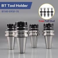 4 Pcs BT40-ER32-70 Tool Holder Collet Chuck CNC Lathe Free Pull Stud & ER32 Nut
