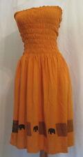 NAUTICA Pumpkin orange w/elephants free spirit rayon tube dress L*FREE SHIP*Nice