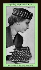 Beaded PILL BOX HAT Purse BAG Crochet Pattern #1353 Mail Order VTG 50s DRITZ
