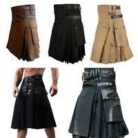 Mens Scottish Kilt Traditional Highland Pleated Dress Utility Kilts Tartan Skirt