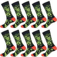 10 Pairs Mens Black & Green Skull Cross Bones Skeleton Casual Dress Socks 10-13