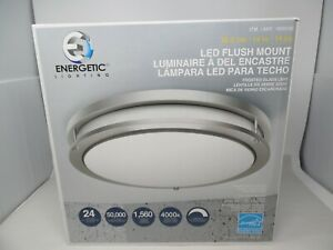 Energetic 14-inch Double Ring LED Flush Mount Ceiling Light, 24w Dimmable  NEW