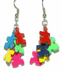 MULTI COLORED METAL PUZZLE PIECE DANGLE EARRINGS (D380)