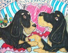 Aceo Gordon Setter Romance Dog Collectible Signed Art Card Print 2.5 x 3.5 Ksams